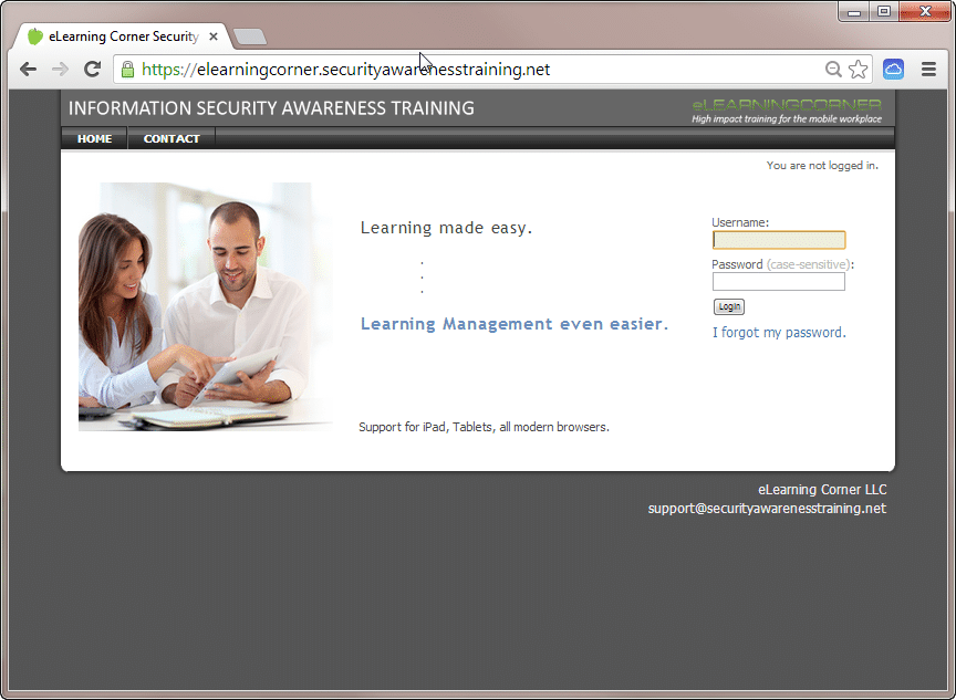 Learning Management System - Demo login page