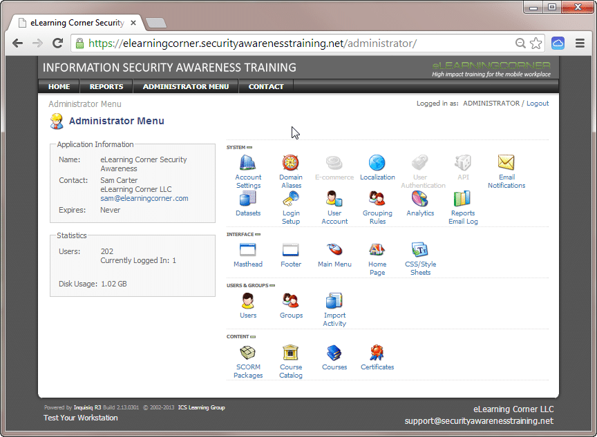 Learning Management System - ICON Oriented Administrative Desktop